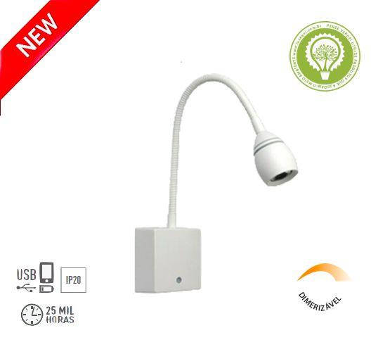 ARANDELA LEITURA LED FLEXÍVEL C/ USB TOUCH DIMERIZAVEL - OLIVE 4145-W