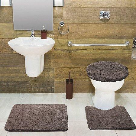 Jogo Tapete de Banheiro 3 Peças Volpi - Camurça - Jolitex