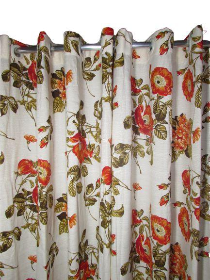 Cortina Rústica Longa - Floral Laranja - Ylos 3,00 x 2,60