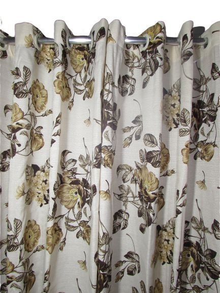 Cortina Rústica Longa - Floral Marrom - Ylos 3,00 x 2,60