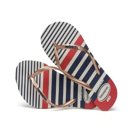 HAVAIANAS SLIM NAUTICAL BRANCO/ROSA GOLD