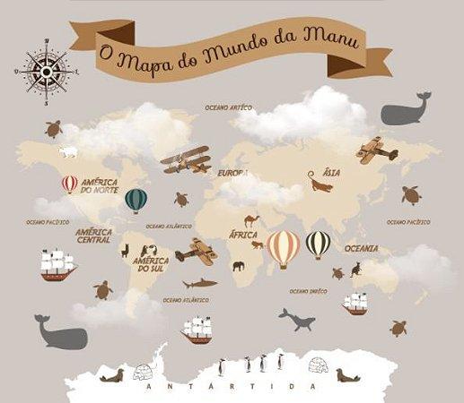 Mapa Mundi Infantil em Tons de Marrom com Nome Personalizado