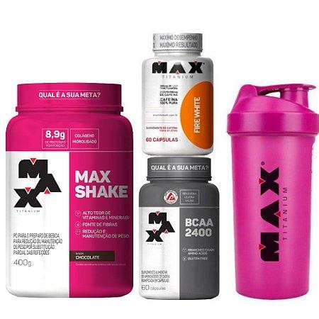KIT SECA BARRIGA: Max Shake + BCAA 2400 + Fire White + Coqueteleira