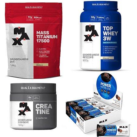 KIT CRESCER MAIS: Top Whey 3W +Performance + Mass Titanium + Creatine + Power Protein Bar