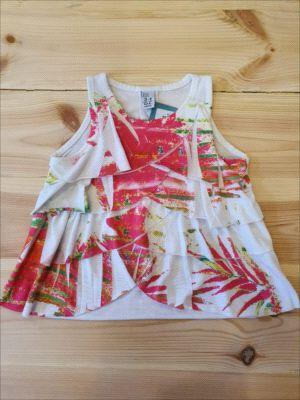 Camiseta regata estampada c/ babados - Zara 3-4 anos
