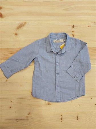 Camisa social manga longa azul - 6 meses - H&M