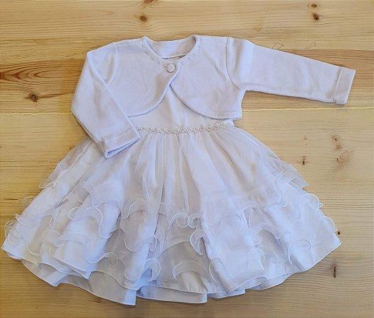 Vestido branco babados + bolero - 12 meses