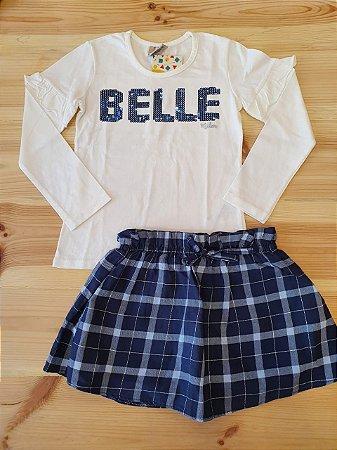 Conjunto camiseta manga longa + saia xadrez - Milon 4 anos
