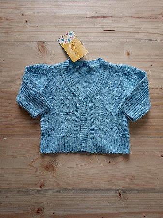 Casaco manga longa linha azul claro - Le Tricot 3 meses