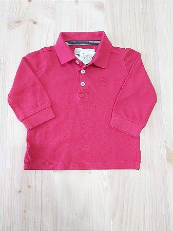 Camiseta manga longa gola polo vermelha - Zara 6-9 meses