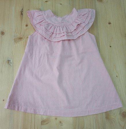 Vestido regata quadriculado branco/rosa - Beringela 2 anos
