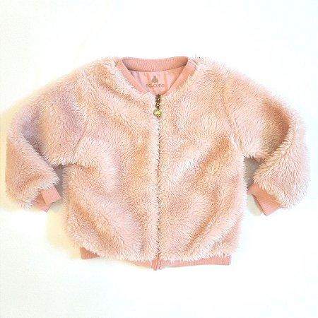Casaco manga longa pelúcia rosa claro - Açucena 2 anos