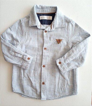 Camisa manga longa azul clara mescla - Zara 3-4 anos