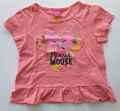 Camiseta manga curta rosa minnie - Disney 6 anos