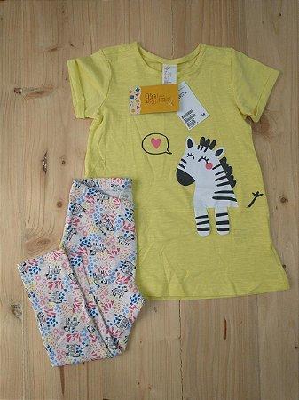 NOVO Conjunto Bata + Legging zebra - H&M 18-24 meses