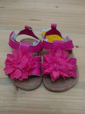 Sandália rosa com flor - 3-6 meses