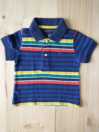 Camiseta polo listrada - Tommy Hilfiger 12 meses