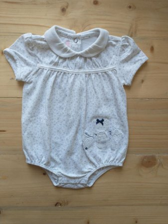 Body manga curta branco floral - Chicco 6 meses