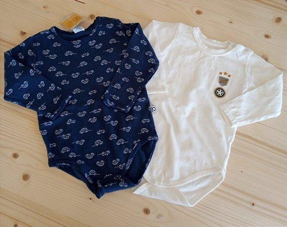 Kit 2 bodies manga longa azul marinho/branco - 9-12 meses
