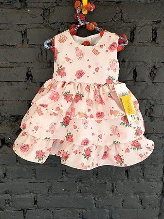 NOVO Vestido festa rosa babados - Koukla 9-12 meses