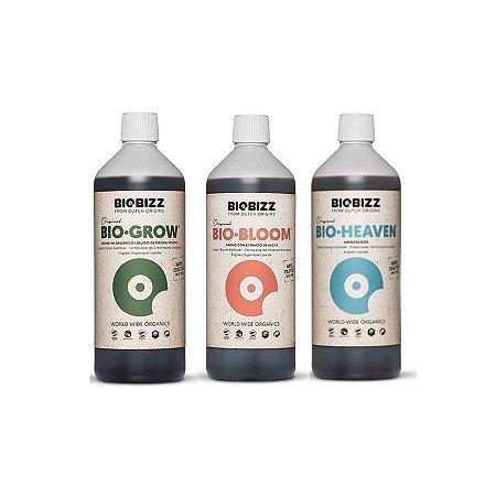 Kit Indoor Biogrow, Biobloom e Bioheaven 3x1L - BioBizz