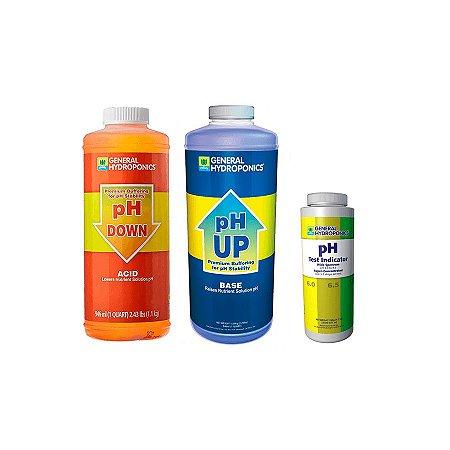 Kit pH Up e Down 946ml e Indicador teste de pH 237ml - General Hydroponics