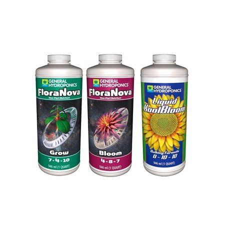 Kit GRANDES COLHEITAS FloraNova Grow + Bloom e Liquid KoolBloom 3x946ml - General Hydroponics