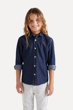 CAMISA MINI CONT AE EASY OXFORD DENIM ML