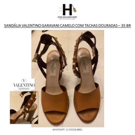 SANDÁLIA VALENTINO GARAVANI CAMELO COM TACHAS – NÚMERO 35 BR