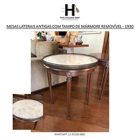 MESAS LATERAIS REDONDAS ANTIGAS COM TAMPO DE MÁRMORE REMOVÍVEL - 1930