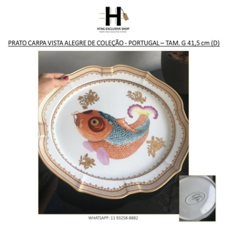 PRATO CARPA VISTA ALEGRE DE COLEÇÃO - PORTUGAL – TAM. G 41,5 cm (D)