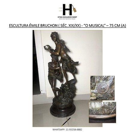 "ANTIGA ESCULTURA EMILE BRUCHON (FRANÇA, SÉC. XIX/XX) EM BRONZE – ""O MUSICAL"" – 75 CM (A)"