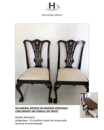 CADEIRAS ANTIGAS EM MADEIRA E ASSENTO EM CHENILLE OFF WHITE - 4 CADEIRAS