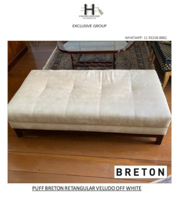 PUFF BRETON RETANGULAR VELUDO OFF WHITE
