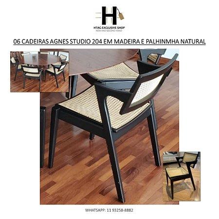 06 CADEIRAS AGNES STUDIO 204 EM MADEIRA MACIÇA E PALHINHA NATURAL