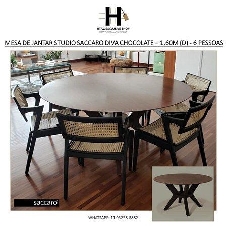 MESA DE JANTAR STUDIO SACCARO DIVA EM MADEIRA DE LEI CHOCOLATE – 1,60M (D) - 6 PESSOAS