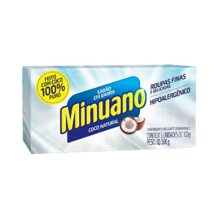 Sabão em Barra Minuano Coco 100g 05un