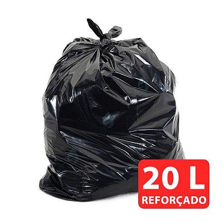 Saco de Lixo 20L Preto Reforçado 0,08M Fardo com 100 Unidades