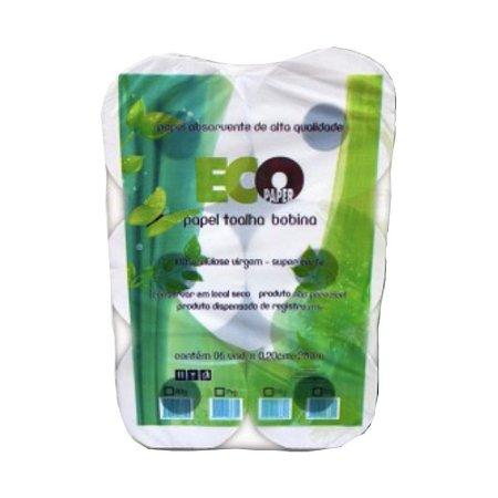 Papel Toalha Bobina Ecopaper 100% Celulose 32gr 20cmx200m 06 Un