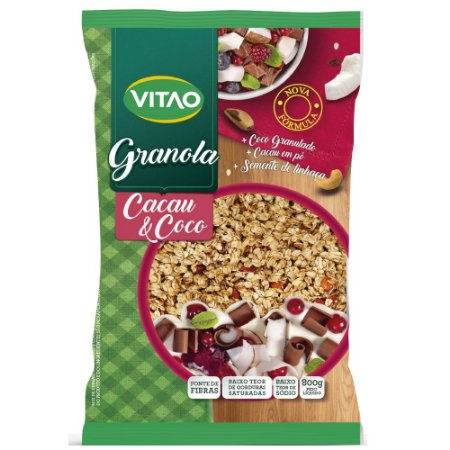 Granola Tradicional Cacau e Coco Vitao 800g