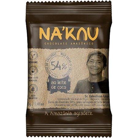 Chocolate Na'kau 54% Cacau Ao Leite De Coco - 40g