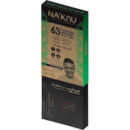 Chocolate Na'kau 63% Cacau com Café Apuí 80g.