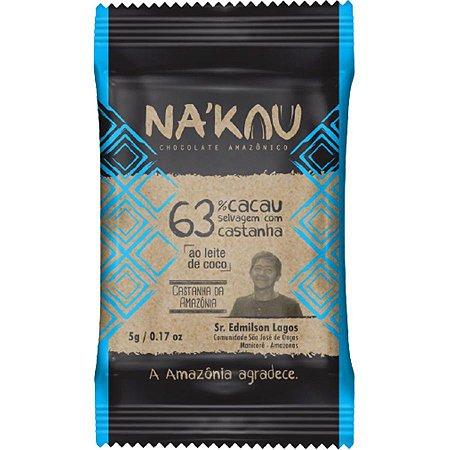 Chocolate Na'kau 63% Cacau Castanha Da Amazônia 40g.