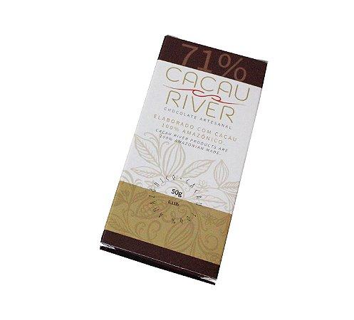 Chocolate Amazônico Vegano 71% Cacau Cacau River 50g.