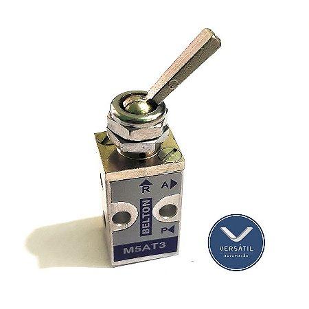 Válvula Pneumática Acionamento Alavanca Curta 3/2 Vias Rosca M5 com Trava