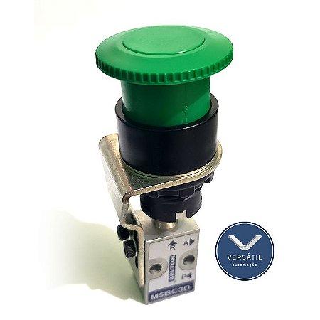 Válvula Botão Mola 3/2 Vias M5 Cogumelo Verde