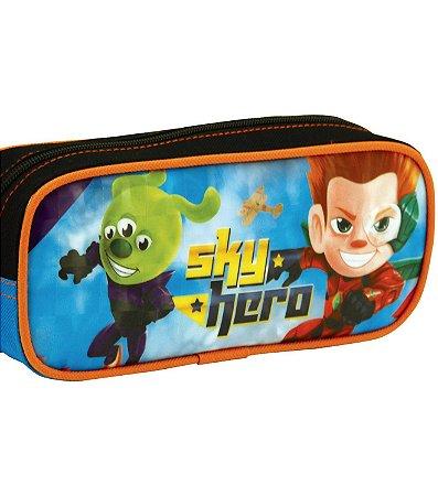 Estojo Escolar Infantil Sky Hero Duplo