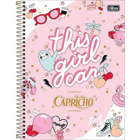 Caderno Espiral Capa Dura Universitário 10 Matérias Capricho 160 Folhas