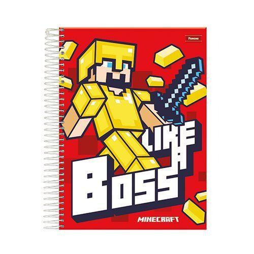 Caderno Minecraft C/ 10 Matérias - Capa Dura - Like A Boss