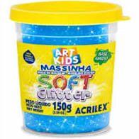 Massa P/modelar Soft Glitter 150g Azul 204 / Un / Acrilex